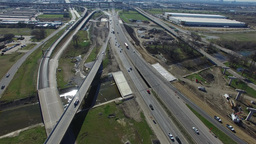 Aerial over Highway 35 north of Highway 635 in Dallas Live Action