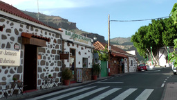 Spain Gran Canary Fataga 033 patterned houses in main street Footage