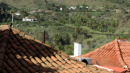 Spain Gran Canary Fataga 021 valley with palm trees and red roofs Footage