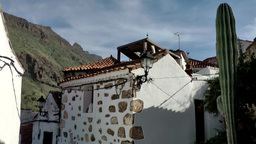Spain Gran Canary Fataga 017 cactus and whitewashed house Footage