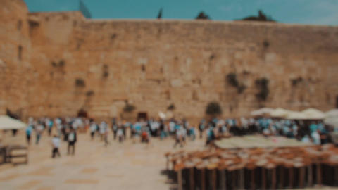 Jewish prayers at the Western wall in the old city of Jerusalem Israel Footage