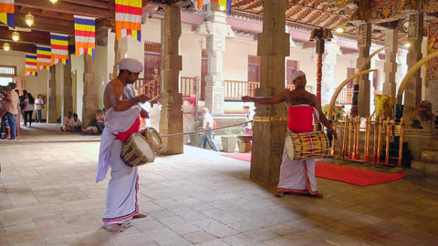 Temple musicians at offering ceremony at Temple of Tooth Relic. Kandy, Sri Lanka Footage