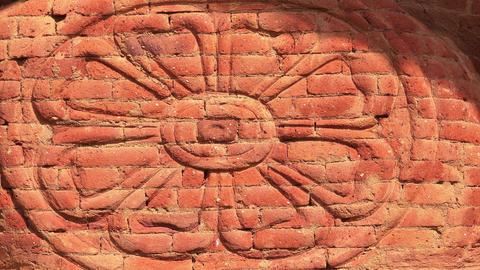 Lotus flower ornament. Carving in Buddhist Pidurangala Cave Temple. Sri Lanka Footage