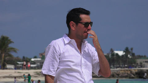 Unhappy Wealthy Man On Vacation Footage