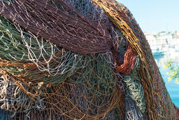 Discarded Fishing Nets wharf Copyspace Foto