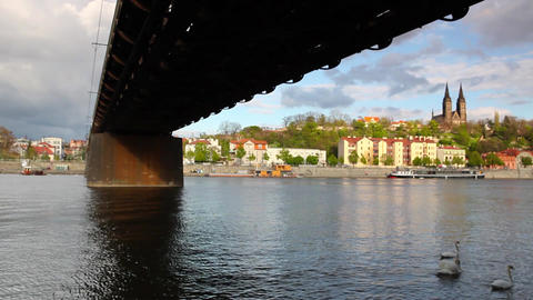 Old iron railway bridge in Prague,Czech Republic Archivo