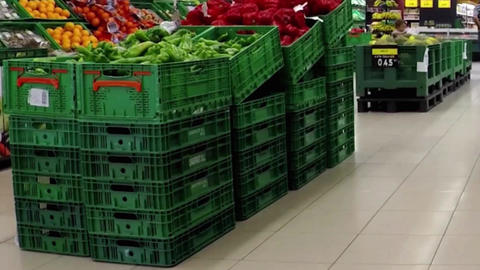 Green Bell Peppers at the Supermarket