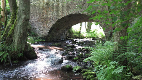 Stream flowing under the old stone bridge