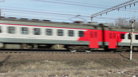 passenger commuter train countryside Footage