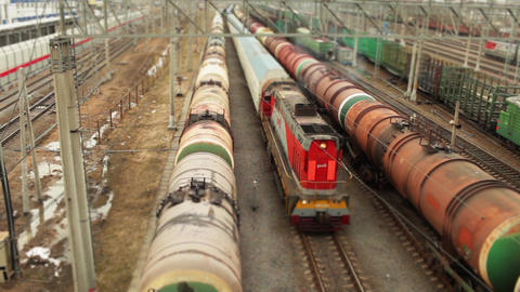 freight trains at railroad shunting yard Filmmaterial