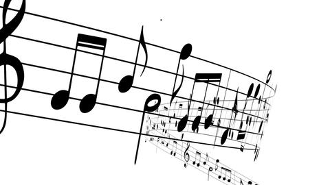Music notes flowing on white background, seamless animation Animation