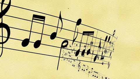 Music notes flowing on the old paper Animation