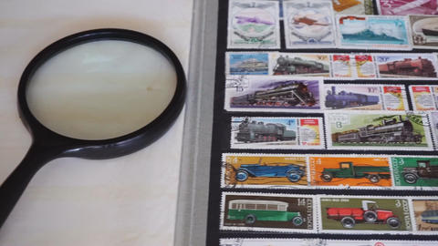 Stamp collecting. Collection of postage stamps Footage
