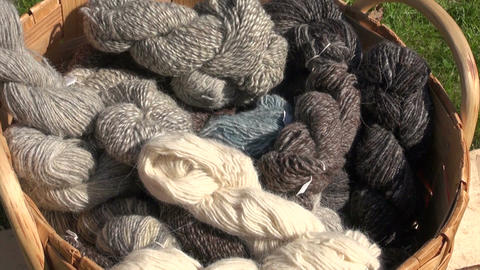 Woolen yarn in wicker basket Footage