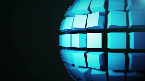 Abstract background with technology sphere. Seamless loop Animation