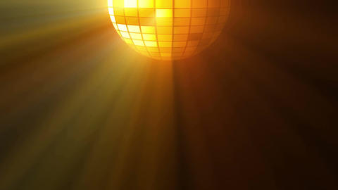 Abstract background with disco ball and lights. 3D rendering. Seamless loop Animation
