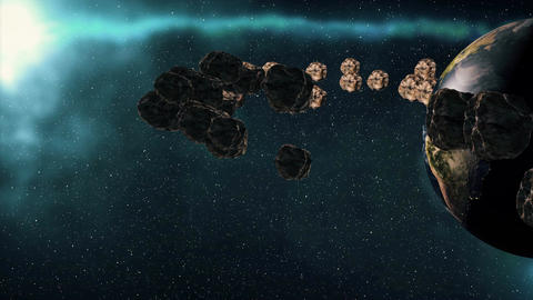 Planet Earth and asteroids spinning around its axis. Futuristic cosmic backgroun Animation