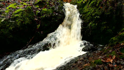 Cascade on small mountain stream, water is running trough big crack in basalt bo ビデオ