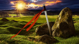 Sword in the dramatic sunny landscape Animation
