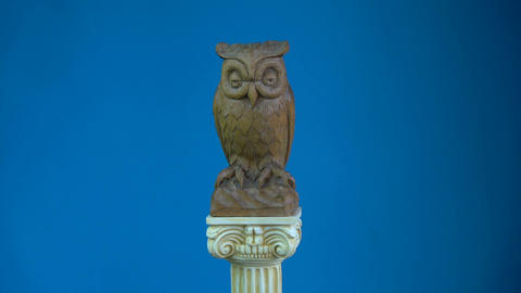Wooden owl sculpture rotating on antique column model Footage
