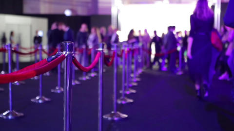 Red rope with gold barriers on the premiere