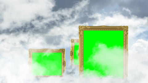 Golden picture frames with green screen background fly by CG動画素材