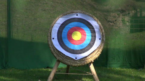 Two targets for arrows in medieval fair Footage