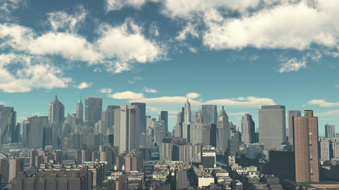 4k,timelapse cloud fly over urban building and skyscrapers,NewYork City Scene Footage