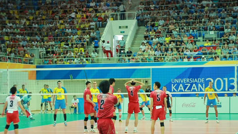 Tense Interesting Volleyball Match between Men Teams Footage