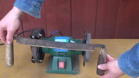 Worker sharpening tool Footage