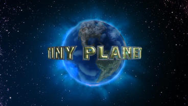 Tiny Planet - Curved Metallic Text Over Planet Earth Logo Stinger After Effects Project