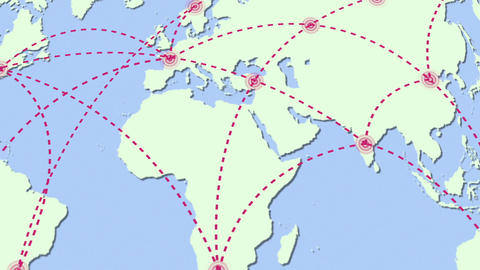 Agrowing network across the world Animation