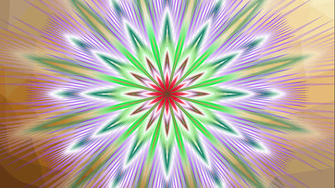 Animated fractal flower shape, multicolored mandala star with variable colors, s Animation