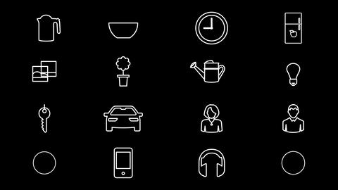 Internet Of Things and Smart Home Icons. 4K With Alpha Channel Animation