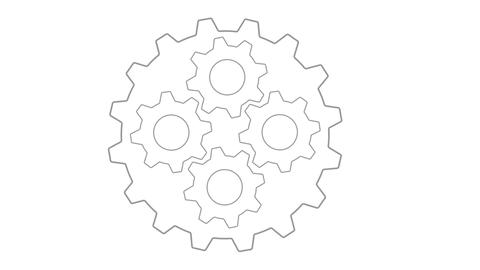 Gears inside gear loopable Grey panning in and out Animation