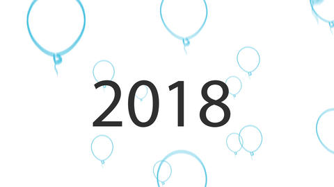 2018 Blue vector Balloons Animation