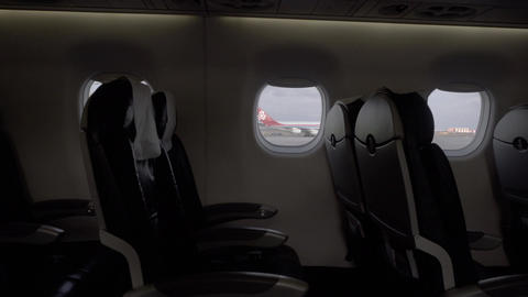 Seat rows in an airplane cabin Footage