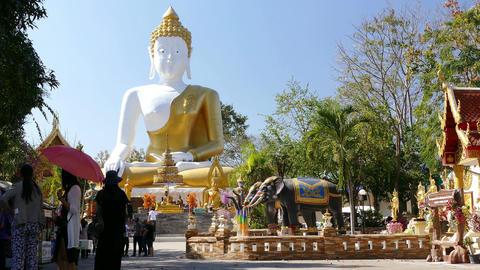 Buddha Statue Blue Sky People 4k Footage