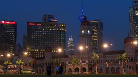 Dataran Merdeka Kuala Lumpur Malaysia Petronas Towers 4k Panorama Animation