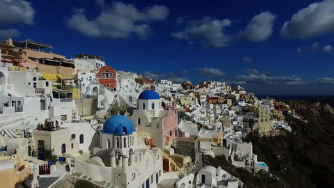 Flying over the white houses of Santorini, Greece Footage