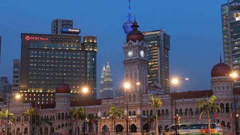 Dataran Merdeka Kuala Lumpur Malaysia Petronas Towers 4k Zoom Out Animation