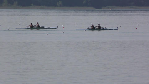 Rowing Championship Double Scull Woman Race Footage