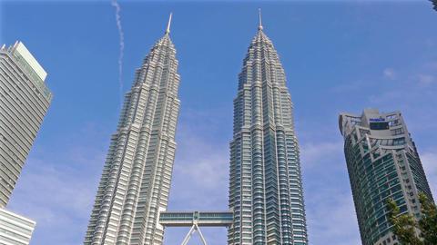 Kuala Lumpur Malaysia Petronas Towers Blue Sky 4k Footage