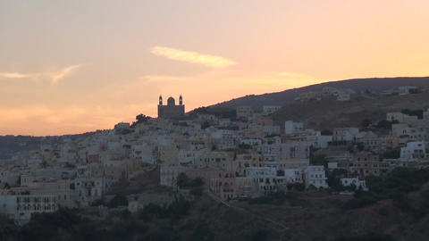 Traditional Greek Island during Nightfall Footage