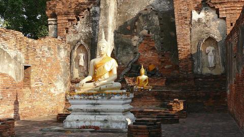 Buddhist Temple Sukhotai Thailand Ancient Sitting Buddha 4k Footage
