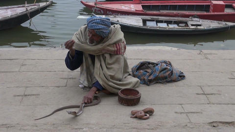 Varanasi, India, December 2012 - cobra charmer with walkers by Footage