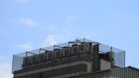 Industrial Rooftop Clouds Stock Video Footage