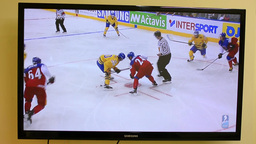 Ice Hockey On Television - Goal (World Championship) stock footage
