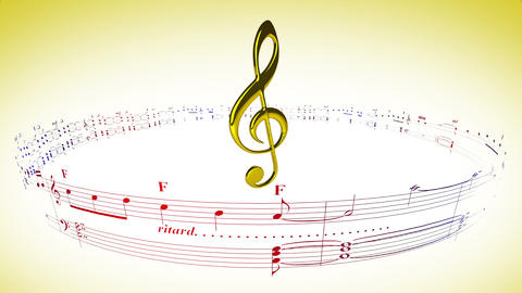 Violin clef rotating with music sheets, loop Animation