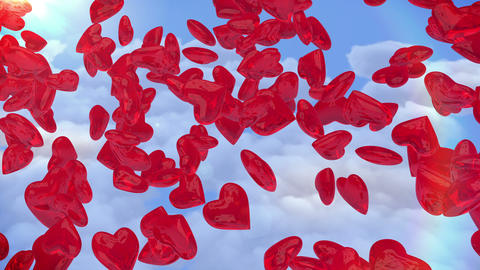 Falling hearts. Valentine's Day Stock Video Footage